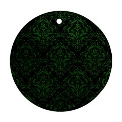 Damask1 Black Marble & Green Leather Ornament (round)
