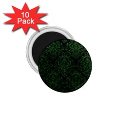 Damask1 Black Marble & Green Leather 1 75  Magnets (10 Pack)