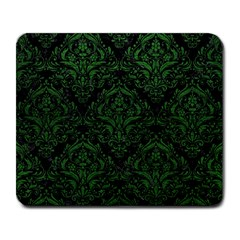 Damask1 Black Marble & Green Leather Large Mousepads
