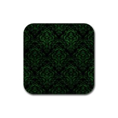 Damask1 Black Marble & Green Leather Rubber Coaster (square)