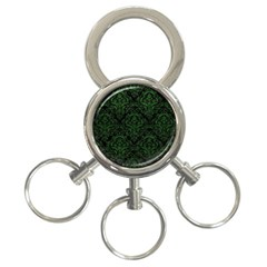 Damask1 Black Marble & Green Leather 3 Ring Key Chains