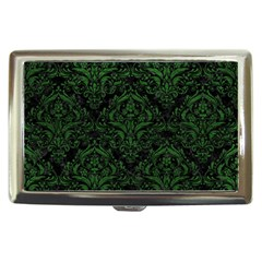Damask1 Black Marble & Green Leather Cigarette Money Cases