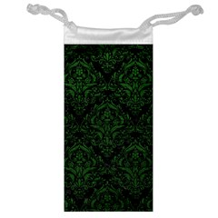 Damask1 Black Marble & Green Leather Jewelry Bag
