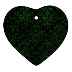 Damask1 Black Marble & Green Leather Heart Ornament (two Sides)