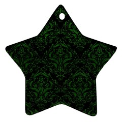 Damask1 Black Marble & Green Leather Star Ornament (two Sides)