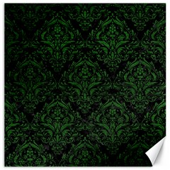 Damask1 Black Marble & Green Leather Canvas 12  X 12