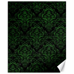 Damask1 Black Marble & Green Leather Canvas 16  X 20