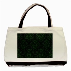 Damask1 Black Marble & Green Leather Basic Tote Bag (two Sides)