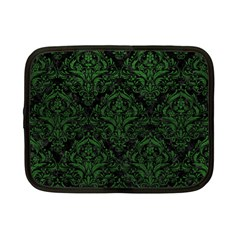 Damask1 Black Marble & Green Leather Netbook Case (small)