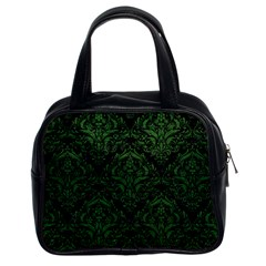 Damask1 Black Marble & Green Leather Classic Handbags (2 Sides)