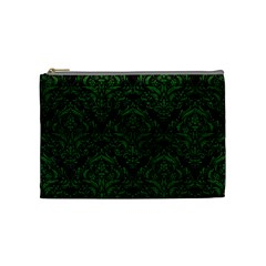 Damask1 Black Marble & Green Leather Cosmetic Bag (medium)