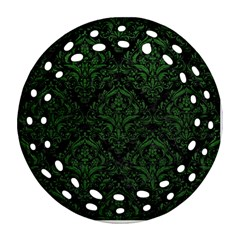 Damask1 Black Marble & Green Leather Round Filigree Ornament (two Sides)