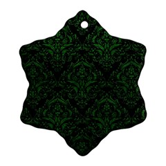 Damask1 Black Marble & Green Leather Snowflake Ornament (two Sides)