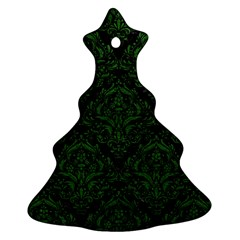 Damask1 Black Marble & Green Leather Christmas Tree Ornament (two Sides)