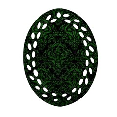 Damask1 Black Marble & Green Leather Ornament (oval Filigree)