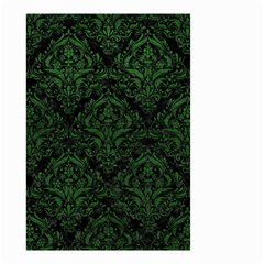 Damask1 Black Marble & Green Leather Small Garden Flag (two Sides)