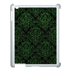 Damask1 Black Marble & Green Leather Apple Ipad 3/4 Case (white)