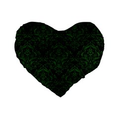 Damask1 Black Marble & Green Leather Standard 16  Premium Heart Shape Cushions