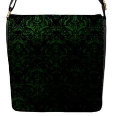 Damask1 Black Marble & Green Leather Flap Messenger Bag (s)