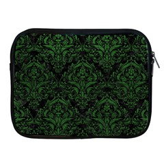 Damask1 Black Marble & Green Leather Apple Ipad 2/3/4 Zipper Cases