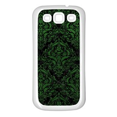Damask1 Black Marble & Green Leather Samsung Galaxy S3 Back Case (white)