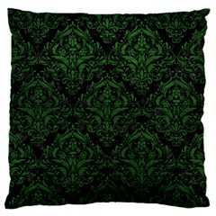 Damask1 Black Marble & Green Leather Standard Flano Cushion Case (one Side)