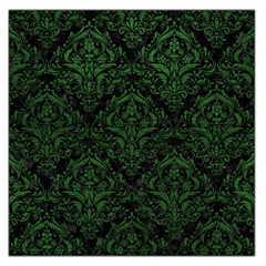 Damask1 Black Marble & Green Leather Large Satin Scarf (square)