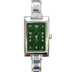 Damask1 Black Marble & Green Leather (r) Rectangle Italian Charm Watch