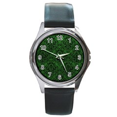 Damask1 Black Marble & Green Leather (r) Round Metal Watch
