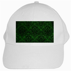 Damask1 Black Marble & Green Leather (r) White Cap