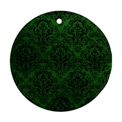 Damask1 Black Marble & Green Leather (r) Ornament (round)