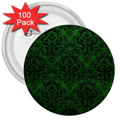 Damask1 Black Marble & Green Leather (r) 3  Buttons (100 Pack)