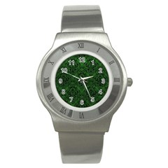 Damask1 Black Marble & Green Leather (r) Stainless Steel Watch