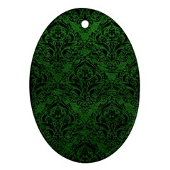 Damask1 Black Marble & Green Leather (r) Oval Ornament (two Sides)