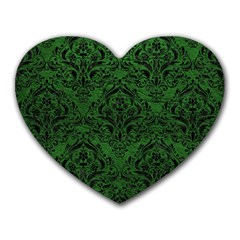 Damask1 Black Marble & Green Leather (r) Heart Mousepads