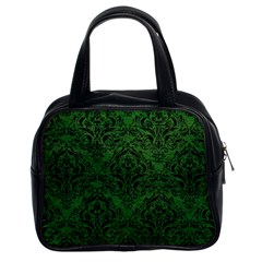 Damask1 Black Marble & Green Leather (r) Classic Handbags (2 Sides)