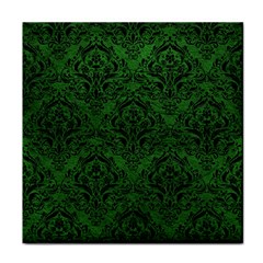 Damask1 Black Marble & Green Leather (r) Face Towel