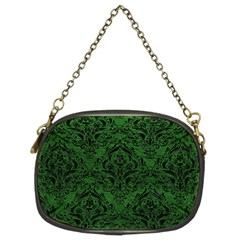 Damask1 Black Marble & Green Leather (r) Chain Purses (two Sides)