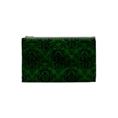 Damask1 Black Marble & Green Leather (r) Cosmetic Bag (small)
