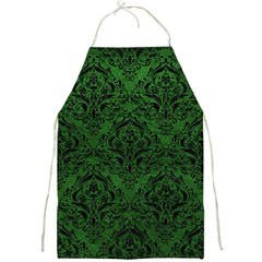 Damask1 Black Marble & Green Leather (r) Full Print Aprons