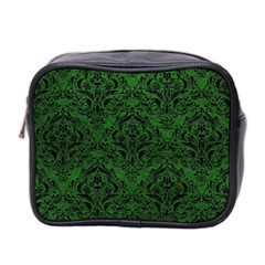 Damask1 Black Marble & Green Leather (r) Mini Toiletries Bag 2 Side