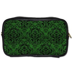 Damask1 Black Marble & Green Leather (r) Toiletries Bags 2 Side