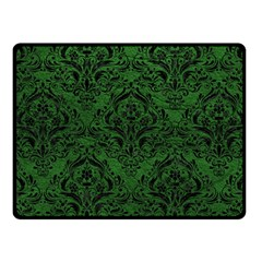 Damask1 Black Marble & Green Leather (r) Fleece Blanket (small)