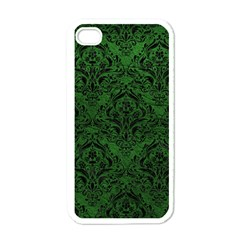 Damask1 Black Marble & Green Leather (r) Apple Iphone 4 Case (white)