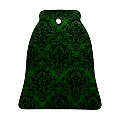 Damask1 Black Marble & Green Leather (r) Ornament (bell)