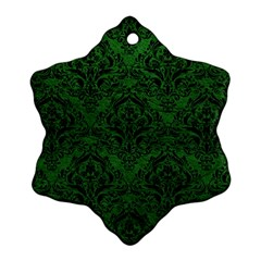 Damask1 Black Marble & Green Leather (r) Snowflake Ornament (two Sides)