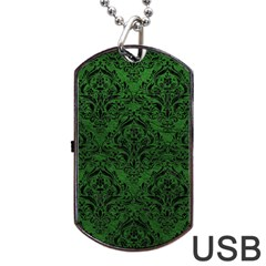 Damask1 Black Marble & Green Leather (r) Dog Tag Usb Flash (two Sides)