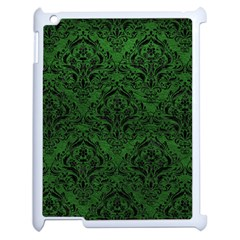 Damask1 Black Marble & Green Leather (r) Apple Ipad 2 Case (white)