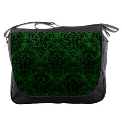 Damask1 Black Marble & Green Leather (r) Messenger Bags
