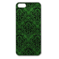 Damask1 Black Marble & Green Leather (r) Apple Seamless Iphone 5 Case (clear)